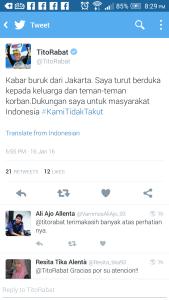 Twit tito rabat mendukung indonesia tragedi sarinah